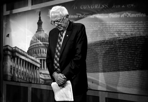 Senate Veterans Affairs Committee Chairman Sen. Bernie Sanders, I-VT, stands in defeat after a divided Senate derailed Democratic legislation providing $21 billion for medical, education and job-training benefits for the nation's veterans, as the bill fell victim to election-year disputes over spending and whether to slap sanctions on Iran, Thursday, Feb. 27, 2014, on Capitol Hill in Washington.  (J. Scott Applewhite/Associated Press)