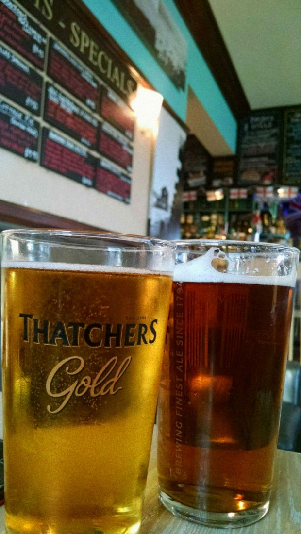 Thatcher's Old Racal, Palmer's Dorset Gold; Cobb Arms, Lhyme Regis, West Dorset, England. 23 June 2014.