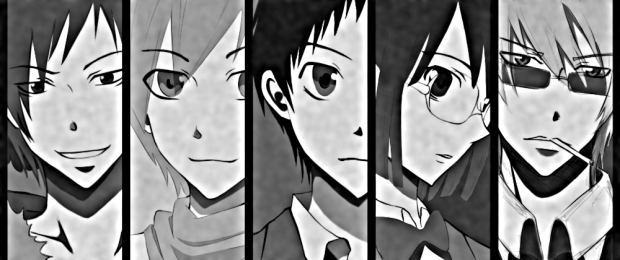 Major players in 'Durarara!!' (L-R): Izaya Orihara, Masaomi Kida, Mikado Ryugamine, Anri Sonohara, Shizuo Hewajima.