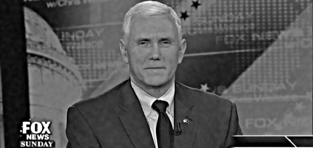 22 FEBRUARY 2015: Indiana Gov. Mike Pence appears on 'FOX News Sunday with Chris Wallace'. Guest host John Roberts interviewed Mr. Pence regarding various issues, including his status as a 2016 'dark horse' for the GOP presidential nomination, and the Hoosier State's 'religious freedom' bill empowering discrimination, which Pence signed into law in late March. (Image credit: FOX News)