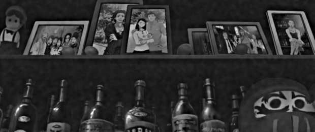 "Lebanon's memories: Pictures of Lebanon's family, in happier days. (Detail of frame from Darker Than Black: Gemini of the Meteor, episode 5, ""Gunsmoke Blows, Life Flows..."")"