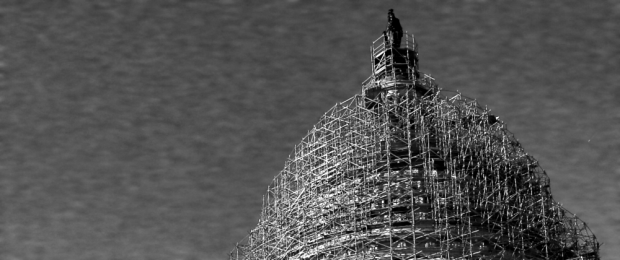 >The dome of the United States Capitol building, under repair, in 2015.  (Detail of photo by Mark Wilson/Getty Images)