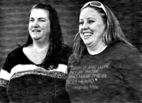 April Hoagland, left, and Beckie Peirce smile during a press conference outside of the Juvenile Court in Price, Utah Friday, Nov. 13, 2015. The married same-sex couple said Friday they are relieved after finding out they will be able to keep a baby girl they have been raising as foster parents. They spoke after a judge reversed his ruling to take the 9-month-old child and place her with a heterosexual couple for her well-being. (Chris Detrick/The Salt Lake Tribune via AP)