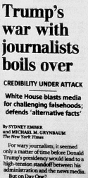 """Trump's war with journalists boils over"" (Seattle Times, 23 January 2017)"